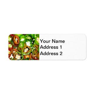 Colorful Jalapeno Pepper Slices Return Address Label