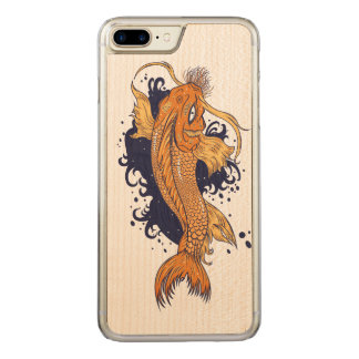 Colorful Japanese Koi Carved iPhone 7 Plus Case