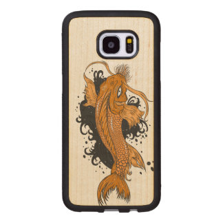 Colorful Japanese Koi Wood Samsung Galaxy S7 Edge Case