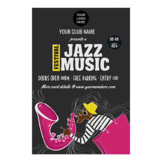 Colorful Jazz Music Festival add logo personalized Poster