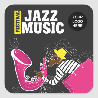 Colorful Jazz Music Festival add logo personalized Square Sticker
