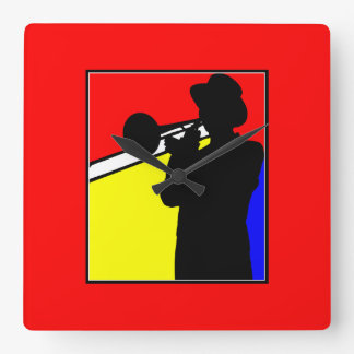 Colorful Jazz trombone player (red) Square Wall Clock