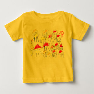 Colorful jellyfish drawn by a 5 year old girl baby T-Shirt
