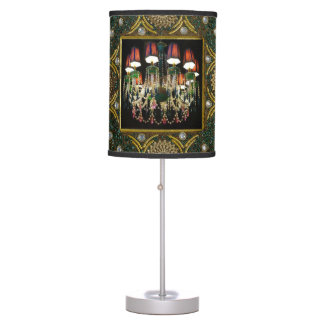 Colorful Jewel Chandelier and Green Pearl Design Table Lamp