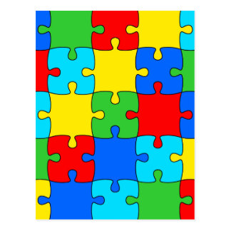 Colorful jigsaw puzzle pattern postcard