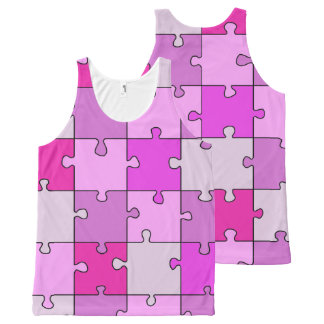 Colorful Jigsaw Puzzle Pink Pieces All-Over-Print Tank Top