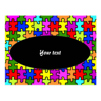 'Colorful jigsaw puzzle' postcard