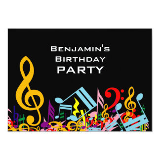 """Colorful Jumbled Music Notes Birthday Party 5"""" X 7"""" Invitation Card"""