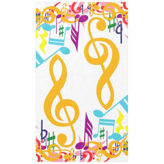Colorful Jumbled Musical Notes Tablecloth