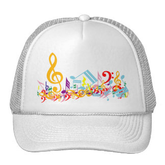 Colorful Jumbled Musical Notes Trucker Hat