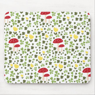 Colorful jump meadow with flowers and mushrooms mouse pad
