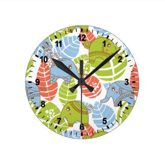 Colorful Jungle Elephants Clocks