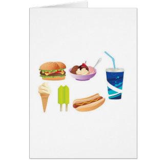 Colorful junk food design card