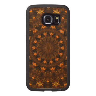 Colorful kaleidoscope mosaic wood phone case