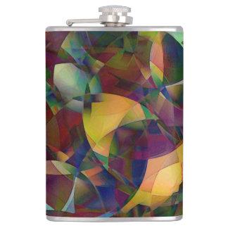 Colorful, Kaleidoscopic Abstract Art Hip Flask