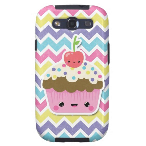 Colorful Kawaii Cupcake on Chevrons Samsung Galaxy SIII Covers