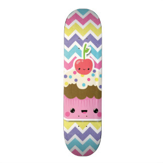 Colorful Kawaii Cupcake on Chevrons Skate Board Decks
