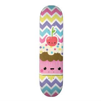 Colorful Kawaii Cupcake on Chevrons Skateboard Deck