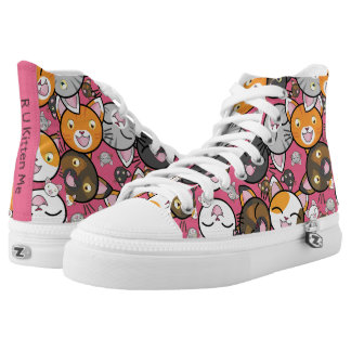 Colorful Kawaii Kitty Faces Top ZipZ Tennis Shoes