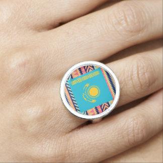 Colorful Kazakhstan Flag Box Photo Ring