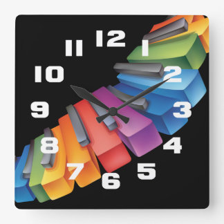 Colorful Keyboard Cool Music Square Wall Clock