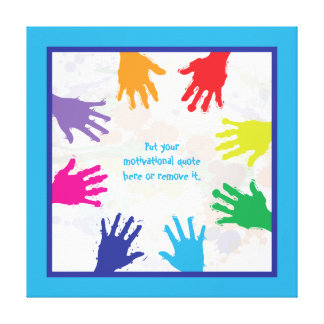 Colorful kids handprints with blue borders canvas print