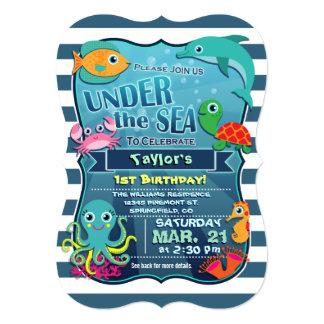 Colorful Kid's Sea Life Birthday Party Invitation
