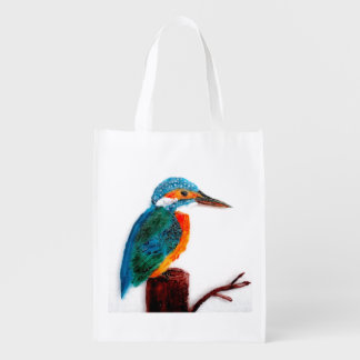 Colorful Kingfisher Bird Art Grocery Bags