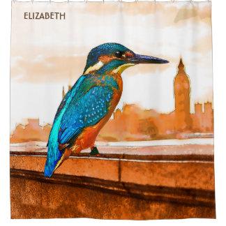 Colorful Kingfisher Bird With London Skyline