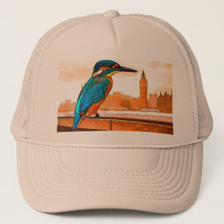 Colorful Kingfisher Bird With London Skyline Trucker Hat