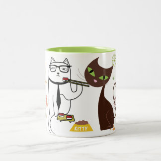 Colorful kitty cat lunch date sushi mug