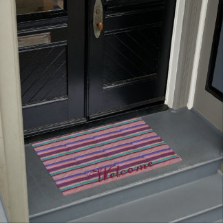 colorful knitted stripes unique vintage fun doormat