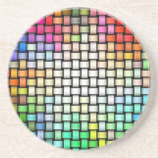 Colorful knitted texture coaster