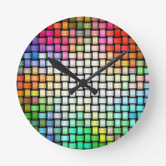 Colorful knitted texture round clock