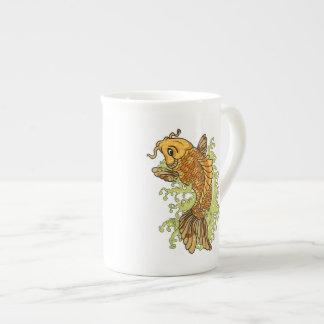 Colorful Koi Illustration Tea Cup