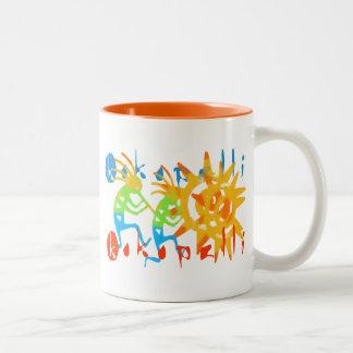 Colorful Kokopelli Two-Tone Coffee Mug