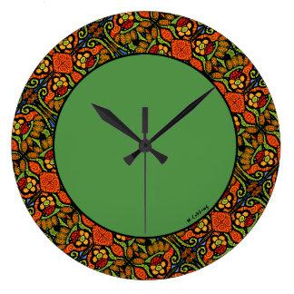 Colorful Ladybug Pattern Polka Dots Flowers Green Large Clock