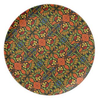 Colorful Ladybug Pattern Polka Dots Flowers Plate