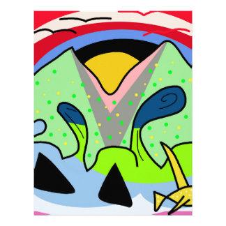 Colorful landscape letterhead template