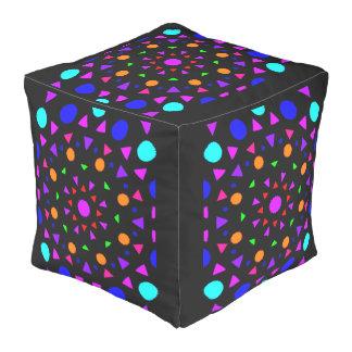 Colorful large cotton cube pillow. pouf