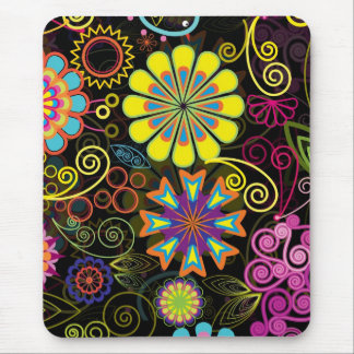 Colorful Large Retro Flowers Mouse Pad