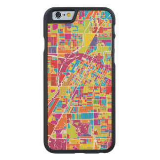 Colorful Las Vegas, Nevada Map Carved® Maple iPhone 6 Slim Case