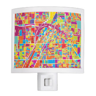 Colorful Las Vegas, Nevada Map Night Lights