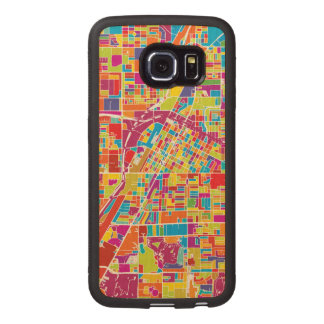 Colorful Las Vegas, Nevada Map Wood Phone Case