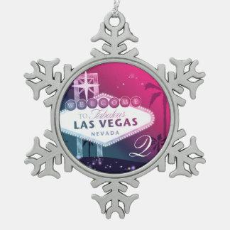 Colorful Las Vegas Wedding Monogram Keepsake Snowflake Pewter Christmas Ornament