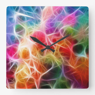 Colorful Laser Lights All Over Design Wall Clock