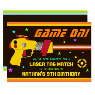 Colorful Laser Tag Kids Birthday Party Invitation