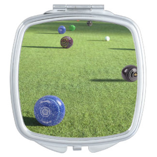 Colorful Lawn Bowls, Travel Mirror