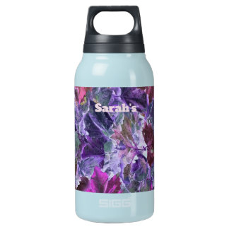 Colorful Leaf Pattern Pink Purple Foliage Insulated Water Bottle
