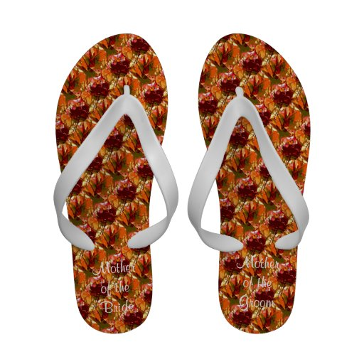 Colorful Leaves Abstract Wedding Flip Flops